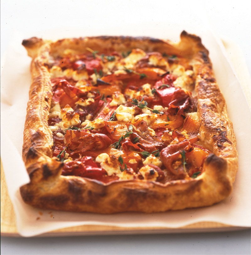 ham roasted pepper and feta cheese flan